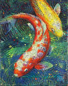 """Volunteer Park Koi - Painting of two koi fish by Seattle artist Daniel (Dano) Carver. Koi Painting, Stone Painting, Fish Paintings, Coi Fish, Fish Collage, Fish Artwork, Fish Template, Mosaic Garden Art, Koi Fish Tattoo"