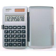 Paquete de 5 Calculadoras verticales, dual power 8 dígitos. Con tapa, Pantalla grande $464MXN