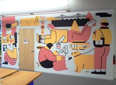 """""""Painted a mural for SF office last week. The yellow shade is called """"Nacho Cheese"""", which feels appropriate. Mural Wall Art, Mural Painting, Graffiti, Office Mural, School Murals, Murals Street Art, Photomontage, Public Art, Illustrations"""