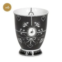 Miss Blackbirdy Frise Set of 6 Mugs without Handles