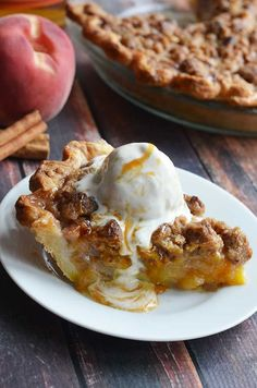 Maple Bourbon Brown Butter Peach Pie.  This is probably the most delicious dessert to ever grace the face of the earth.  Fresh peaches, maple-bourbon caramel, pecan brown butter streusel, buttery, flaky pie crust, and vanilla bean ice cream.  | blog.hostthetoast.com