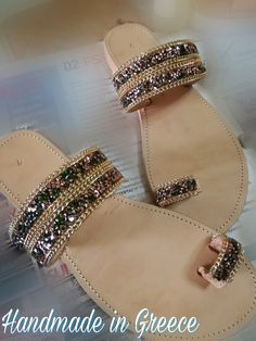 Handmade leather sandals with strass ornaments and gold chain. Made in Greece...
