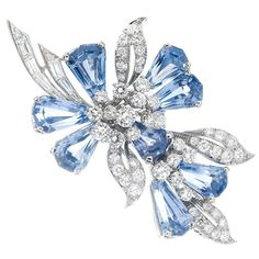 Oscar Heyman Spectacular Diamond & Sapphire Brooch, 1950