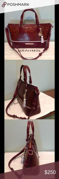 "Brahmin Mini Asher-Toffee Tri-Texture  NWT NWT  Brahmin's Mini-Asher in Toffee Tri-Texture is a great crossbody satchel !  Beautiful color with Burgundy smooth leather on lower half & toffee Croc on upper section plus accented in silvery light grey accents !  Chic structured silhouette with double adjustable handles , 12-24 "" strap drop, goldtone hardware , Brahmin plaque ,medal & tassel add a touch of elegance . Back pocket , footed bottom , top zip closure , lg. zip wall pocker , 2…"