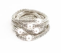Silver Pearl Swarovski Crystal Daisy Stretch Stack Bracelets Layering Stackable White Free USA Shipping - pinned by pin4etsy.com