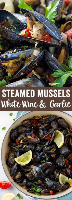 Steamed mussels with white wine and garlic is an easy one-pot meal ready in 20 minutes! Aromatic vegetables are cooked with fresh mussels for a light appetizer or meal. via (Steamed Vegetable Recipes) Light Recipes, Wine Recipes, Cooking Recipes, Healthy Recipes, Steam Recipes, Easy One Pot Meals, Easy Weeknight Meals, Muscles Recipe White Wine, Seafood Dishes