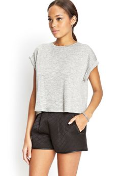 Quilted Scuba Knit Shorts #SummerForever + gray crop top