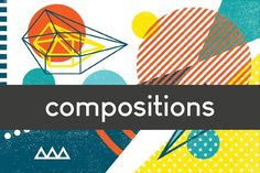 Geometric compositions and cards set by pixelwerk on @creativemarket