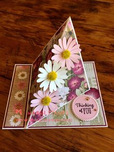 Twisted Easel Card with Side Panel 3d Cards, Easel Cards, Pop Up Cards, Stampin Up Cards, Fancy Fold Cards, Folded Cards, Side Step Card, Step Cards, Shaped Cards