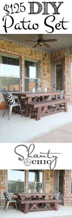 DIY Outdoor Table and Benches - FREE Printable Plans!! more info about round patio table read here: http://roundpatiotable.net/