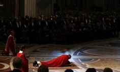 Pope Francis presides over a Papal Mass with the Celebration of the Lords Passion inside St Peters Basilica.