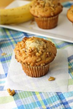 Banana Nut Muffins - #coconutoil #lowfat #wholewheat