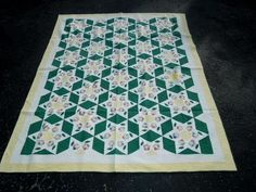 Vtg Antique Americana Patchwork Crazy Quilt PA Dutch 5 Point Stars Flowers   eBay