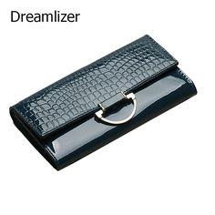d5159168522 Dreamlizer Shining Vrouwen Lederen Portemonnee Lange 3 Fold Krokodil Vrouwen  Purse Vrouwelijke Telefoontasje Hand Clutch Portemonnee