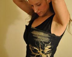 90s Stunning Black Gray Top with Beige Floral Patern and See-Through Straps and Cleavage