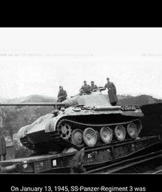 A Panther Ausf A being transported on 1945 belonging to SS Panzer Regiment 3 Army Vehicles, Armored Vehicles, Rail Wars, Trains, Rail Transport, Ww2 Pictures, Hell On Wheels, Ww2 Tanks, Battle Tank