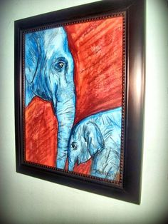 Original 8x10 framed Elephant painting by kimbosdesigns on Etsy, $50.00