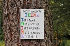 11x14 Canvas Think before you speak Classroom art by Houseof3