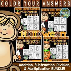 Twenty Color By Numbers Print and Go Printables for Halloween with Addition, Subtraction, Multiplication and Division. This Halloween Bundle can add some Halloween Math Differentiation Fun to your classroom! Perfect for differentiation in your classroom, all students can be working on similar pages but at the math skill they need. Terrific for ESE and ESOL classrooms. TWENTY answer keys included too! #FernSmithsClassroomIdesas