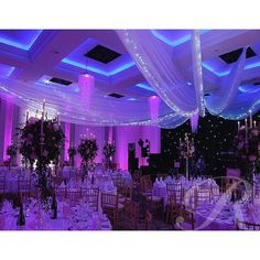 Stunning setup with drapes lighting & decor! Great photo via #bridaldresstoronto