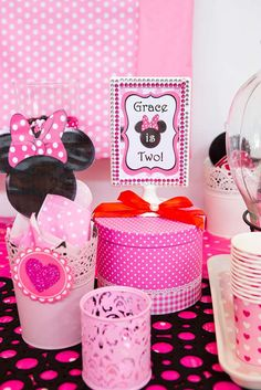 Minnie Mouse birthday party decorations! See more party ideas at CatchMyParty.com!