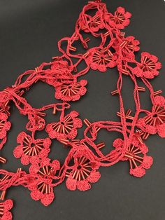 Red oya necklace, crochet lariat, designer necklace, textile necklace, vintage,  | eBay