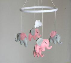 20% Baby Crib Mobile, Baby Girl Mobile, Elephant Mobile, Nursery Mobile, Pink…