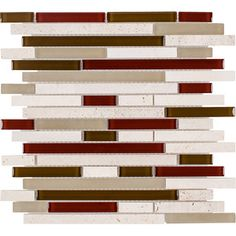 Finally found a backsplash with just the right amount and shade of red :)  Elida Ceramica - Orchid Brick Mixed Material Mosaic Indoor/Outdoor Wall Tile