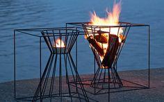 Feuerkorb in geometrischer Form