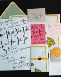 Janie + David's Oversize Map Destination Wedding Invitations with madlib reply card