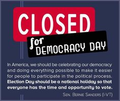 Election day should be a national holdiay. What ever happened to #VotingRights ? #Bernie2016 ~BB