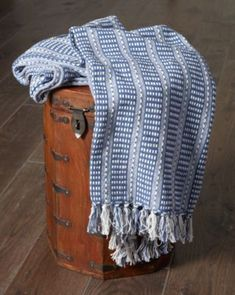 Lr Home Flynn Woven Cotton Throw Blanket - Blue