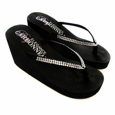 These Crystals High Wedge Bridal Flip Flops - Black are a beautiful pair of wedge flip flops for the bride. Find a variety of wedding flip flops accented with rhinestones, crystals, flowers and more. Bridesmaid Flip Flops, Bridal Flip Flops, Bridesmaids, High Wedges, Black Wedges, Black Wedge Flip Flops, Rubber Sandals, Shoes Heels Pumps, Heeled Sandals