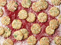 (Love the way these look, and they sound delicious too) White Chocolate Confetti Christmas Cookies recipe from Jeff Mauro via Food Network