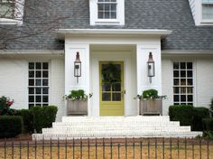Exterior, Cool Simple DIY Front Porch Christmas Decoration With Wreath On Green Door White House Design: Wonderful Front Porch Christmas Dec. Front Porch Christmas Decor, Exterior Design, Green Door, Gas Lanterns, Painted Brick, Christmas Porch Decor, Exterior Door Colors, Exterior Doors, House Exterior