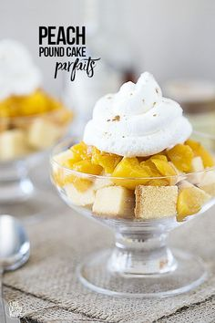 Delicious Peach Pound Cake Parfaits -- the cream is to die for! Recipe at livelaughrowe.com #UniquelyYours #ad