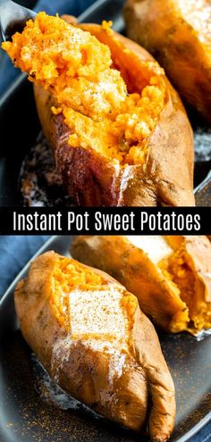 of baked sweet potatoes these sweet potatoes are made in the Instant Pot. One of my favorite healthy Instant Pot recipes to make for dinner. These Instant Pot Sweet Potatoes are sweet potatoes cooked in the pressure cooker. Serve them whole or mashed. Best Instant Pot Recipe, Instant Pot Dinner Recipes, One Pot Recipes, Instant Recipes, Recipes Dinner, Dessert Recipes, Cooking Tips, Cooking Recipes, Couple Cooking