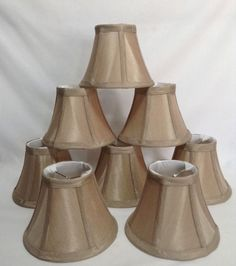 Burlap Mini Chandelier Lamp Shades Set of 5 Clip On 4\