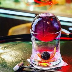 Amazing work from Cherry Manhattan. Beefeater Gin Campari White Vermouth Watermelon Strawberry & V… Drink Menu, Bar Drinks, Coffee Drinks, Yummy Drinks, Alcoholic Drinks, Beverages, Cocktail Garnish, Cocktail Drinks, Gin