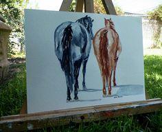 Resting Horses Rear View Horse Watercolor Art by grandhorse