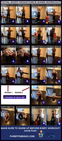 Full Body Resistance Band Workout - FitMamas #fitness #workout #fitmoms