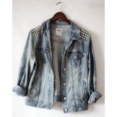 Studded jean jacket ❤ liked on Polyvore