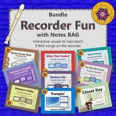 Working on BAG on the soprano recorder? This interactive bundle with 9 BAG songs will help your student be successful!  Excellent music resource.