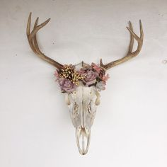 Eclectic bohemian decor and accessories by Gypsydaydream on Etsy Deer Skull Decor, Cow Skull Art, Deer Skulls, Deer Antlers, Deer Heads, Deer Head Decor, Photo Wall Decor, Deer Mounts, Antler Art