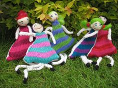 Knitted wool Dolls with Cheeky Personalities by TissaGibbons Wool Dolls, I Shop, Christmas Ornaments, Holiday Decor, Cute, Etsy, Xmas Ornaments, Christmas Jewelry, Kawaii