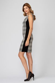 Joseph Ribkoff's rounded neckline sheath dress has a plaid print with cap sleeves, high-contrast accents and tailoring through the natural waist, full back and knee-length hem. Joseph Ribkoff Dresses, How To Clean Iron, Sheath Dress, Cap Sleeves, Fashion Dresses, Jumpsuit, Dresses For Work, Plaid, Style