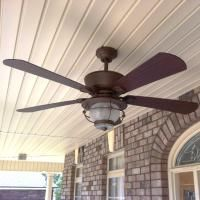 Be prepared for the summer heat with harbor breeze outdoor ceiling harbor breeze 52 in merrimack gilded bronze outdoor ceiling fan for front porch aloadofball Image collections