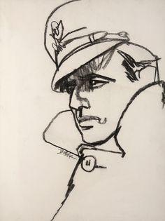No Estilo Marlon Brando Bob Peak. Pencil Art Drawings, Art Drawings Sketches, Contour Drawings, Drawing Faces, Art Du Croquis, Blog Art, Charcoal Art, Charcoal Drawings, Bob Peak