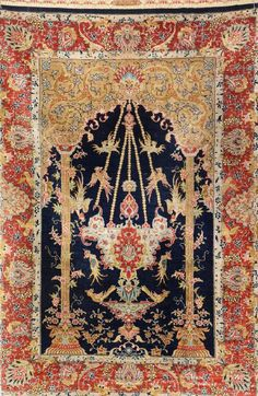 Silk Hereke 'Özipek' (Signed),, Silk Hereke 'Özipek' (Signed), Turkey, circa 1970, pure silk, approx. 118 x 80 cm