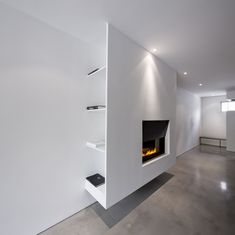 """Consider using this type of buildout of the fireplace/TV feature wall so that AV equipment can be """"hidden"""" on the south aspect of this buildout, opposing the doorway to the south patio Living Room Decor Fireplace, Fireplace Tv Wall, Living Room Tv, Fireplace Design, Commode Design, Interior Architecture, Interior Design, Minimalist Interior, Living Room Designs"""